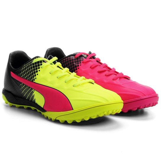 Chuteira Society Puma Evospeed 4.5 Tricks TT - Verde Limão+Pink 29e21171f9530