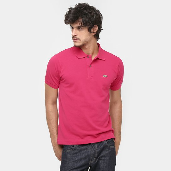61b05bd9927 Camisa Polo Lacoste Original Fit Masculina - Pink e Verde - Compre ...