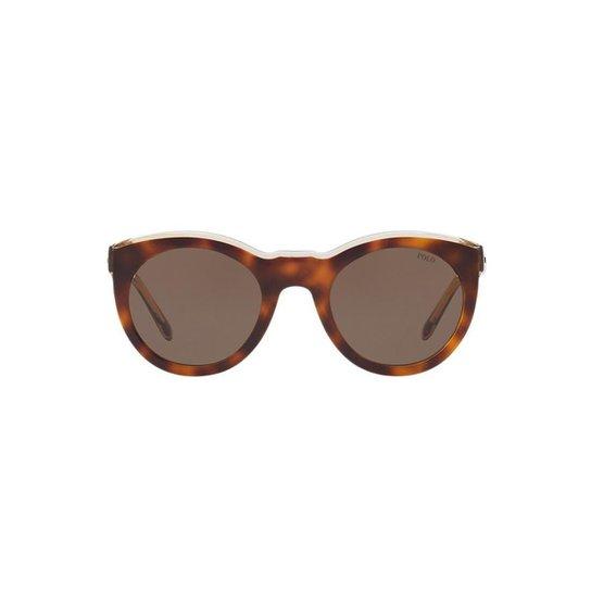 eecb40a39 Óculos de Sol Polo Ralph Lauren Redondo PH4124 Feminino - Marrom ...