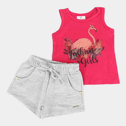 Conjunto Infantil Up Baby Blusa Cotton E Short Moletom Fashion Girl