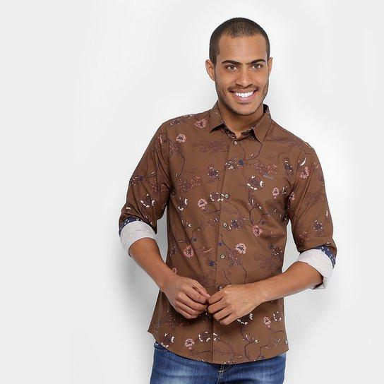 Camisa Colcci Slim Estampada Masculina - Marrom - Compre Agora ... 023d88b70db