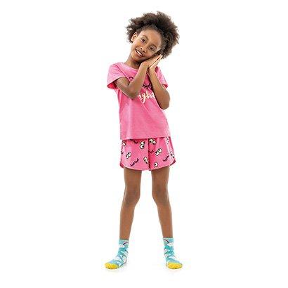 Pijama Curto Infantil Kamylus Night Brilha no Escuro Feminino
