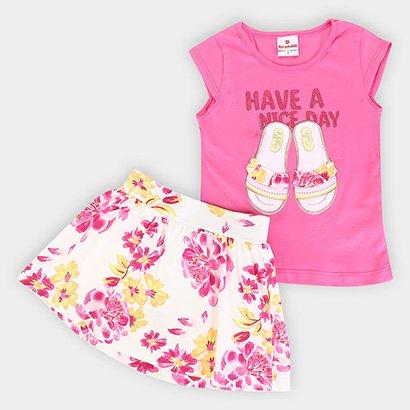 Conjunto Infantil Brandili Short Saia Floral
