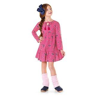 6749537d5 Vestido Infantil Fakini Manga Longa Detalhe Babado Estampa Floral