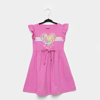 Vestido Infantil Fakini Barbie Com Amarração Na Cintura