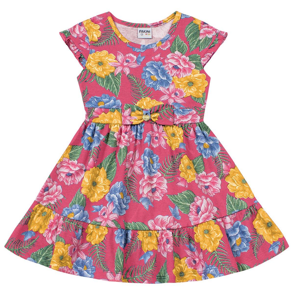 Vestido Bebê Fakini Floral Com Laço E Pingente