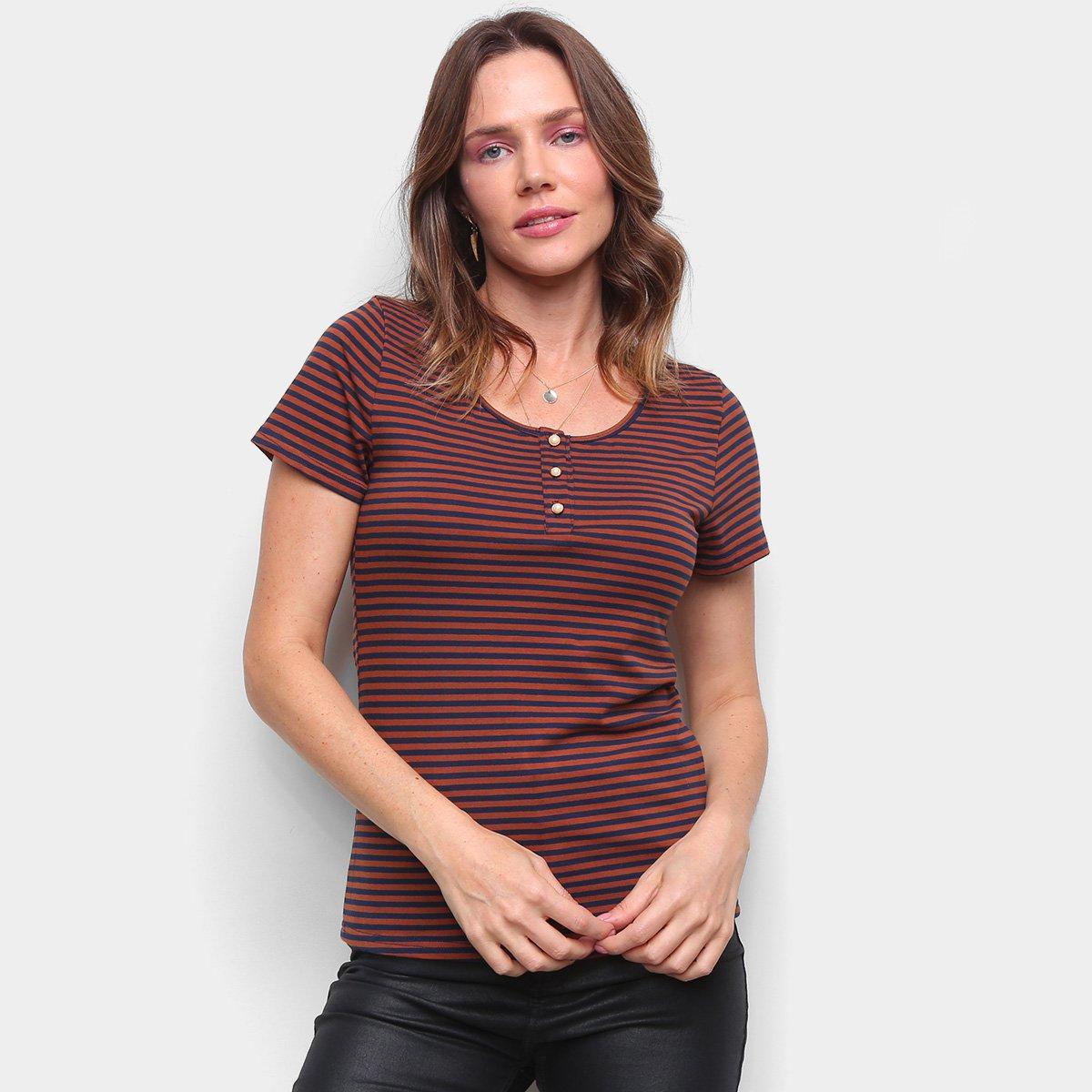 Blusa Top Moda Listrada Botões Feminina