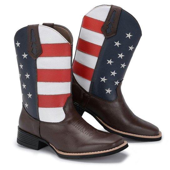 90aba93f3 Bota Country Texana Couro Big Bull Estados Unidos Cano Alto - Marrom ...