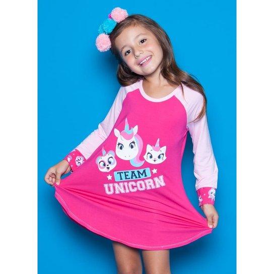 f23a862c3 Camisola Infantil Puket Visco Unicórnio Feminina - Pink
