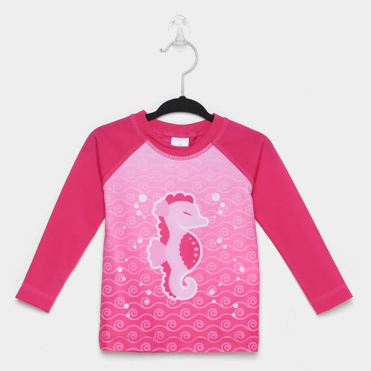 Camiseta Bebê Tip Top Praia Cavalo Marinho Manga Longa Feminina