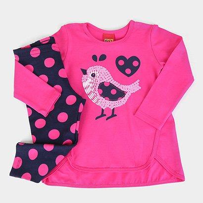 Conjunto Bebê Kyly Blusa + Calça Pássaro Feminino
