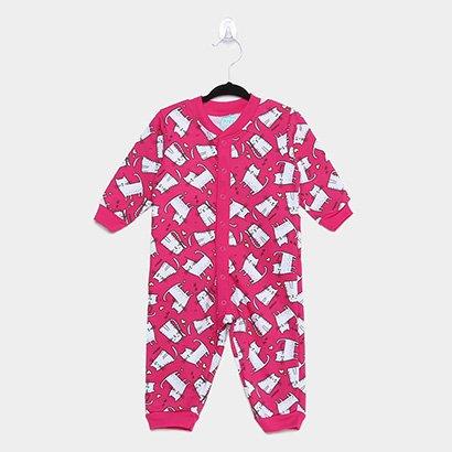 Pijama Infantil Macacão Kyly Moletom Peluciado Gatinhos Feminino