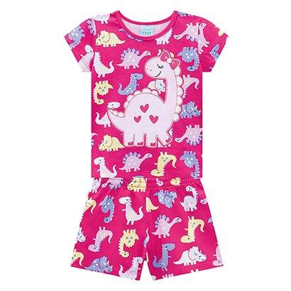 Pijama Infantil Kyly Dinossaura Brilha no Escuro Feminino