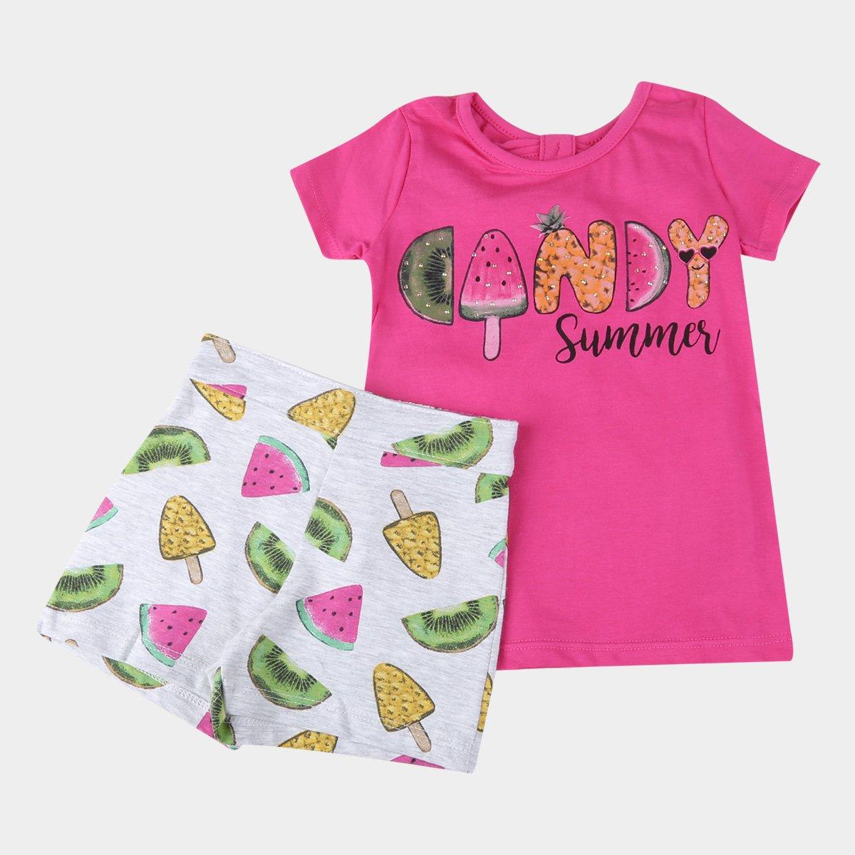 Conjunto Bebê Kyly Blusa e Shorts Frutinhas Feminino