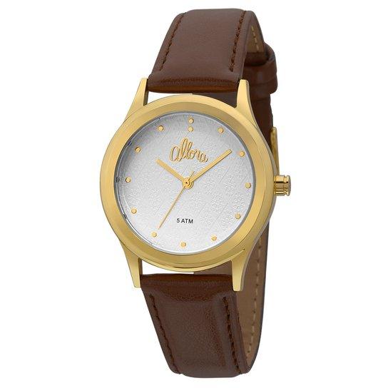04c4263a8ff Relógio Allora Feminino Flores Geométricas - Marrom - Compre Agora ...
