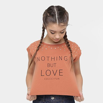 Camiseta Infantil Colcci Fun Nothing but Love Feminina