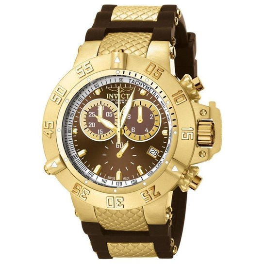 1c6c5ce20bc Relógio Invicta 5516 Subaqua 50mm Banhado a Ouro 18k - Compre Agora ...