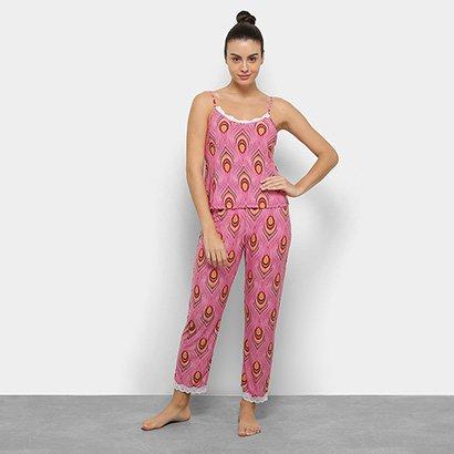 Conjunto De Pijama Flora Zuu Estampado Renda Feminino