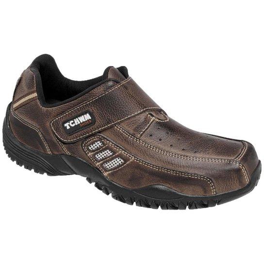 65d8824b5e Sapatênis de Couro Tchwm Shoes com Fechamento em Velcro - Marrom ...