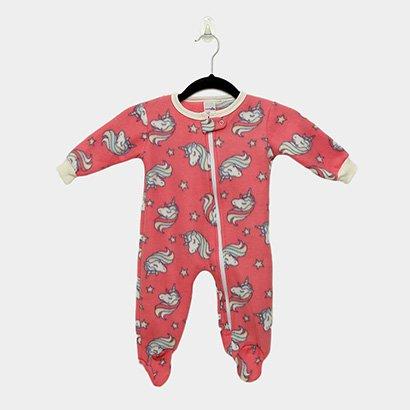 Macacão Infantil Longo Candy Kids Pijama Soft Com Pé e Zíper Unicórnio Baby