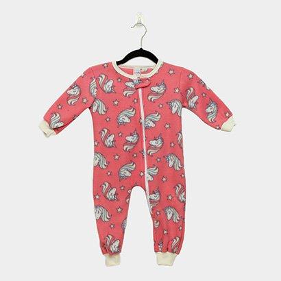 Macacão Infantil Longo Candy Kids Pijama Soft Zíper Unicórnio