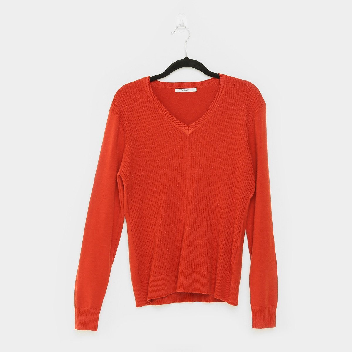 Suéter Tricot City Lady Plus Size Gola V Feminino