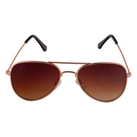 2f3b506f2876f Óculos de Sol Khatto Infantil Aviador Station Feminino - Marrom ...