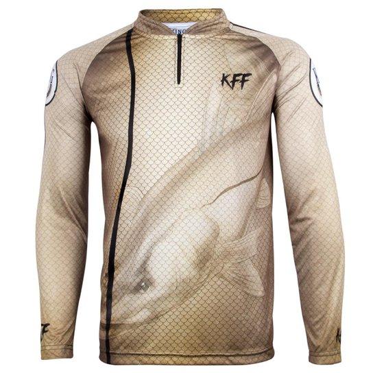 61992abd47 Camiseta Manga Longa Sublimada Masculina King Brasil Proteção UV 50+ KFF29  - Marrom