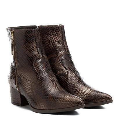 Bota Couro Cano Curto Shoestock Cobra Feminina