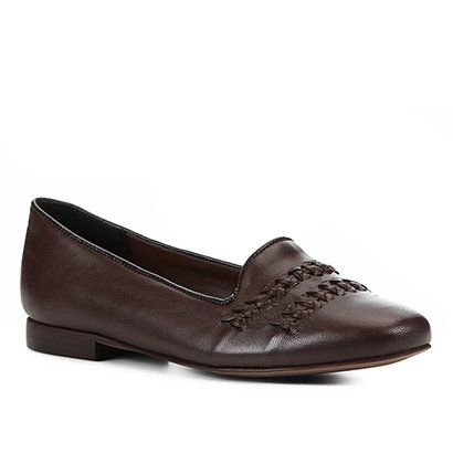 Mocassim Couro Shoestock Tiras Transpassadas Feminino