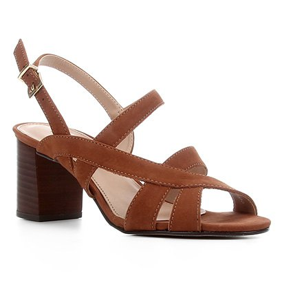 Sandália Couro Shoestock Nobuck Salto Bloco Médio Feminina