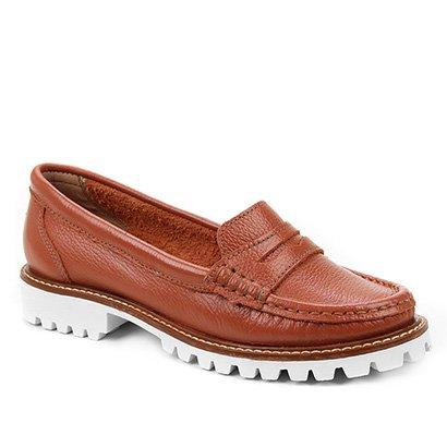 Mocassim Couro Shoestock Tratorado Feminino