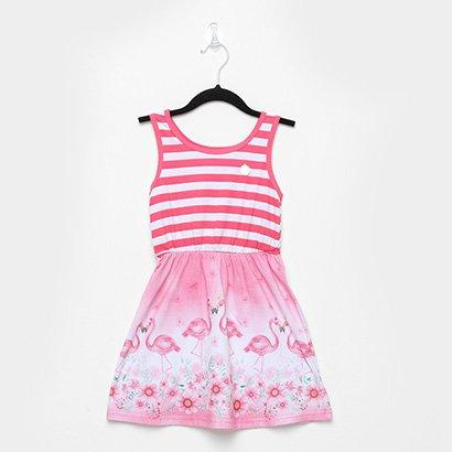 Vestido Infantil Elian Listrado Flamingos