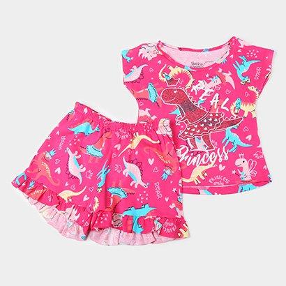 Pijama Infantil Elian Curto Dino Princesa Brilha No Escuro Feminino