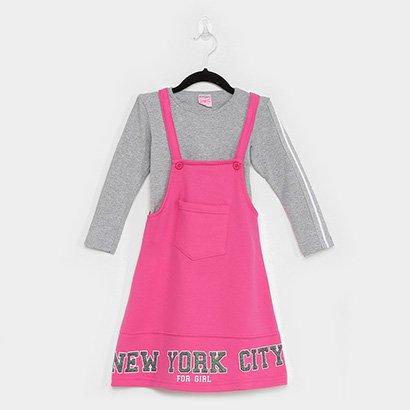 Vestido Infantil For Girl Salopete Com Blusa Manga Longa