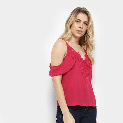 Blusa Open Shoulder Aishty Guipir Feminina