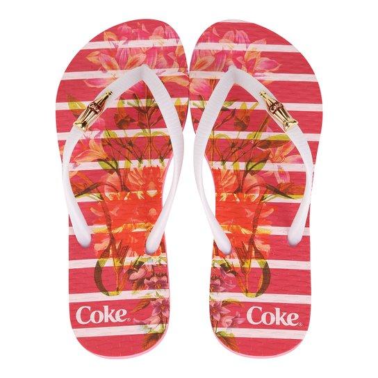11c8af156 Chinelo Coca-Cola Bloom Stripes Feminino - Pink+Branco