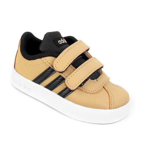 7c99986a87 Tênis Infantil Adidas Velcro VL Court - Caramelo e Preto - Compre ...
