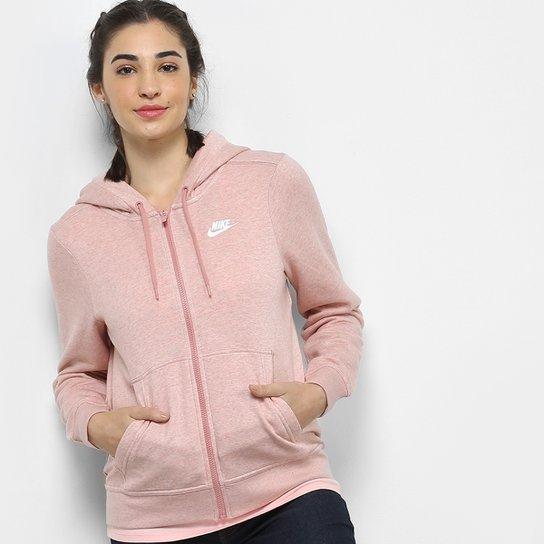 dddd7afc32 Jaqueta Nike Hoodie Fz Flc Feminina - Pink e Branco - Compre Agora ...