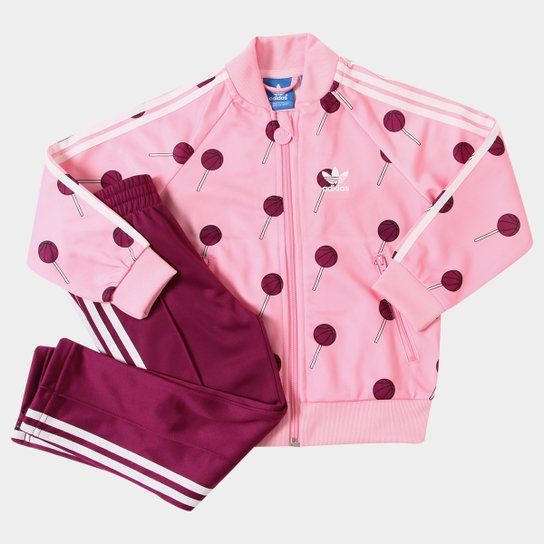 6027d54ca Agasalho Infantil Adidas Basketball Superstar Feminino - Pink+Branco
