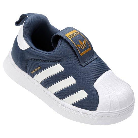 e60b3bae7 Tênis Infantil Adidas Superstar 360 - Azul Petróleo+Branco