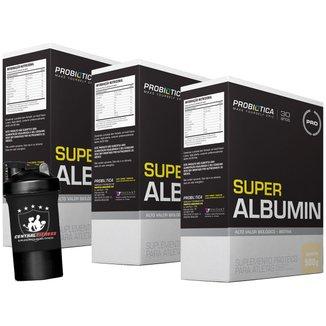 3x Albumina - Super Albumin - 500g + Coqueteleira 2 Doses  - Baunilha - Probótica