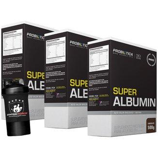 3x Albumina - Super Albumin - 500g + Coqueteleira 2 Doses  - Chocolate - Probótica