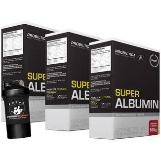 3x Albumina - Super Albumin - 500g + Coqueteleira 2 Doses - Probótica