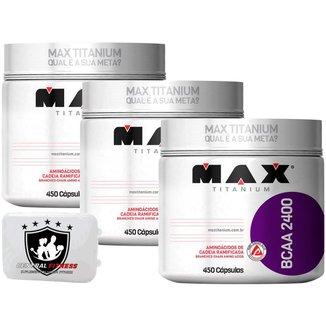3x Bcaa 2400 450 Cápsulas - Max Titanium - Aminoácidos + Porta Cápsulas