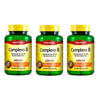 3x Complexo B 100% IDR (3x 60 cápsulas) - MaxiNutri