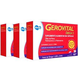 3x Gerovital Ômega 3 Polivitamínico com 30 cápsulas moles