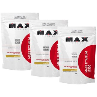 3x Hipercalórico Mass Titanium - Baunilha - Max Titanium- 9kg