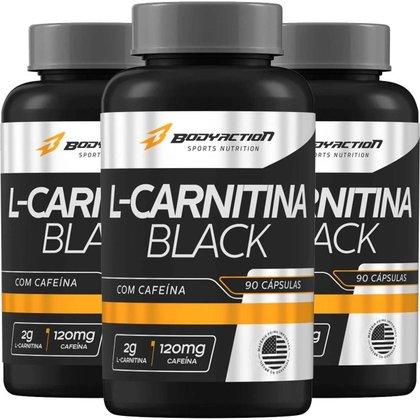 3x L-Carnitina Black 2g Cafeína 120mg 90 cápsulas Bodyactio