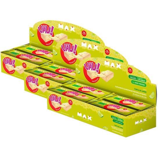 3x Uau Whey Bar 12 Unid Torta de Limão Max Titanium - Barra Proteica -